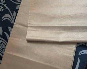 Beautiful subtle  sophisticated vintage Japanese silk fukuro  obi  woven hikihaku (foiled paper woven into fabric) pink ombre cream backing.