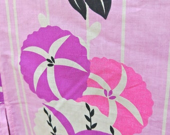 New Japanese cotton yukata kimono  Asagao Morning Glory flowers bright pink 100% cotton