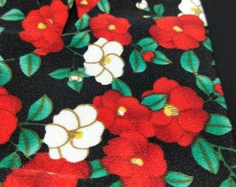 Vintage unused Tabi split toe socks for kimono and zori 23cm foot length. Camelia flowers on black
