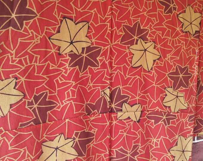Vintage Japanese crepe silk kimono with maple leaves