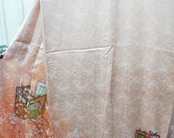 Vintage Japanese orange bokohashi ombre rinzu silk kimono with royal cart and flowers. Subtle and sophisticated.