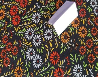 Vintage Japanese summer wool blend kimono fabric chrysanthemum forest flowers 92 cm x 36 cm