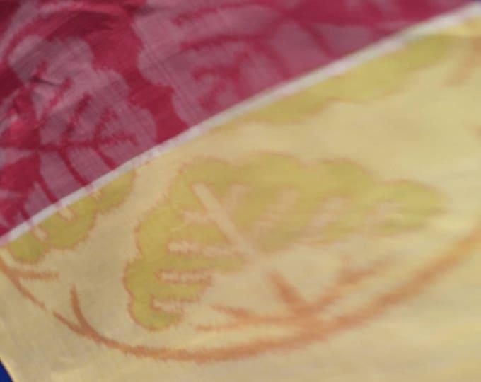 "Vintage Japanese silk kimono fabric 92 cm x 36 cm soft cottony silk with large design 36"" x 14"""