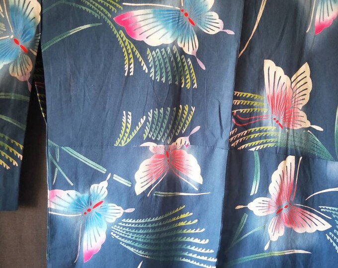 Vintage Japanese cotton yukata kimono steel blue With pattern of blue and pink butterfly and green grass,  hand stitched dyed  100% cotton.