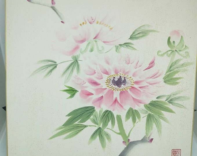 Vintage delicate hand painted watercolour Japanese shikishi painting of camellia flowers. Signed . Decorative art great for display.