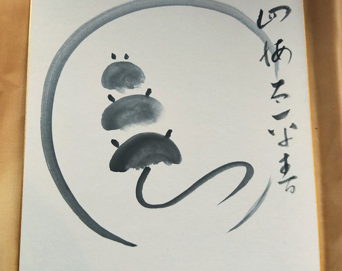Vintage Hand painted Japanese shikishi  paintings Japanese three mice with calligraphy
