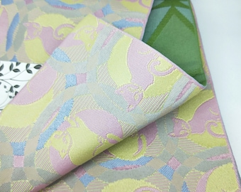 Hanhaba (half-width obi)  obi dusky pink and yellow cats kittens kawaii neko sky blue accents, green blue textured woven reverse for kimono