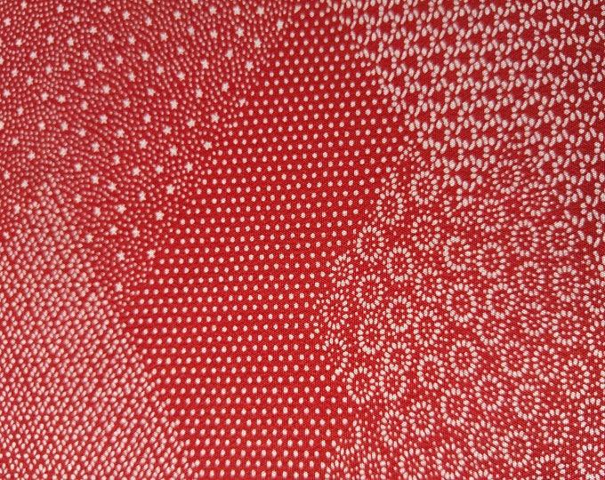 "Vintage Japanese silk kimono fabric 92 cm x 36 cm patchwork tiny print brick red.36"" x 14"""