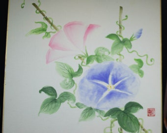 Vintage Hand painted Japanese shikishi paintings with morning glory flowers,  signed. Delicate and subtle