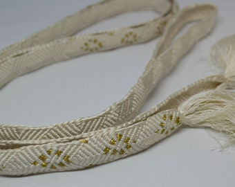 Vintage Japanese silk kumihimo obi-jime cord for obi creamy white with gold accents, flat type. Handmade, wonderful.