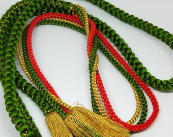Vintage Japanese hand braided silk kumihimo obijime cord for obi   green, gold and orange, with gold thread,  round type.