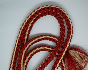 Vintage Japanese silk kumihimo obi-jime cord obi ombre rust brick red brown with yellow accents round type. Handmade, wonderful.