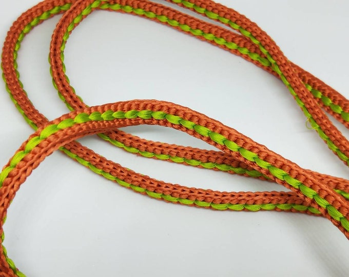Vintage Japanese hand braided silk kumihimo obijime cord for obi  soft two tone green and brown flat type. Subtle and elegant