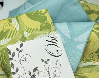 Hanhaba (half-width obi)  obi leaf green, lemon yellow cats kittens kawaii neko sky blue textured woven reverse for kimono
