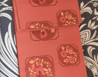 Vintage Japanese Fukuro silk woven obi rich wine  brown.  Woven flowers,  soft obi not stiff. Absolutely gorgeous