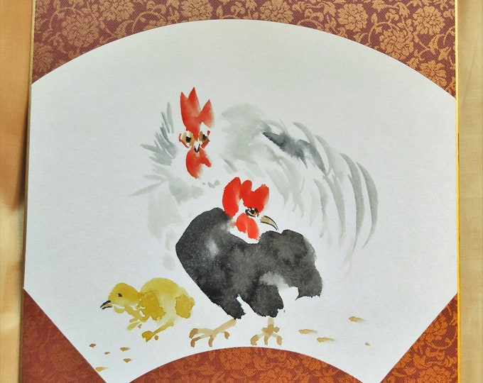 Vintage Hand painted Japanese shikishi  paintings Japanese bird  , chicken hen and roster in fan shapem tree.