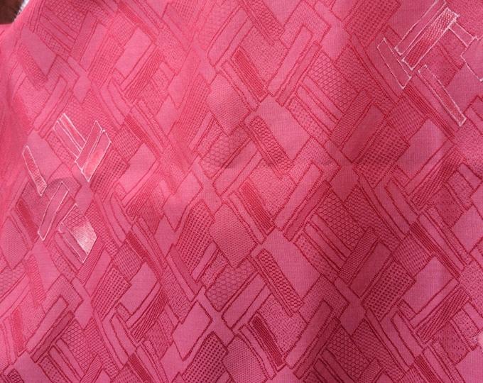 "Vintage Japanese  silk kimono fabric 92 cm x 36 cm  dark pink dusky geometric 36"" x 14"""