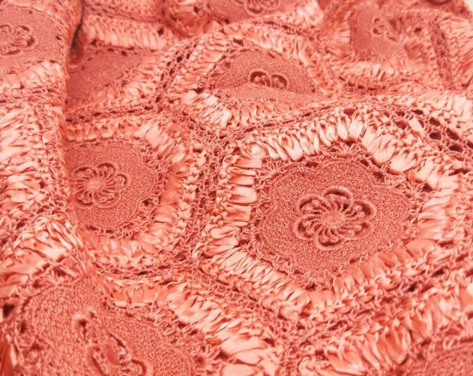 Vintage Japanese shawl for kimono. Orange apricot ribbon work with lace and crochet work. Kiko tortoise shell pattern. Not Mint.