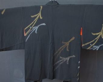 Vintage Japanese hand stitched silk haori kimono jacket black with subtle woven pine needles w/ orange check lining.