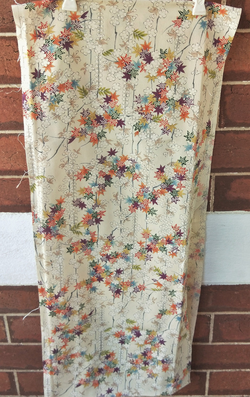 Calico Inspired Tree Peony Chirimen Crepe Silk Vintage Japanese Kimono