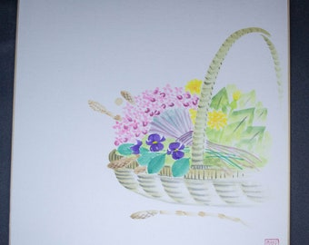 Vintage Hand painted Japanese shikishi paintings basket of flowers signed. Delicate and subtle
