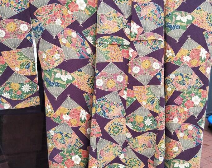 Vintage Japanese sumptuous aubergine purple silk kimono with fans and flowers. Deep rich silk, wonderful handle.