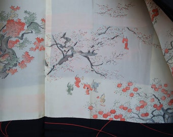 Vintage Japanese hand stitched silk haori  kimono jacket black and orange with hanami cherry blossom festival lining. Single crest