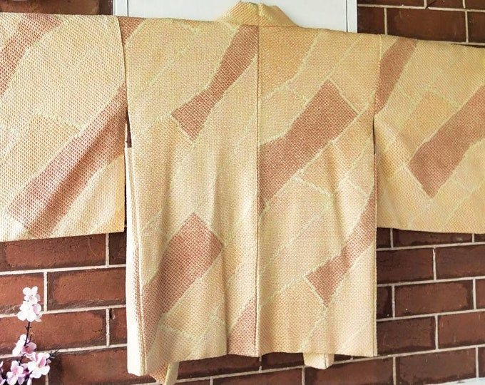 Vintage Japanese hand stitched shibori silk haori  kimono jacket in warm golden yellows and orange abstract pattern Chrysanthemums on lining