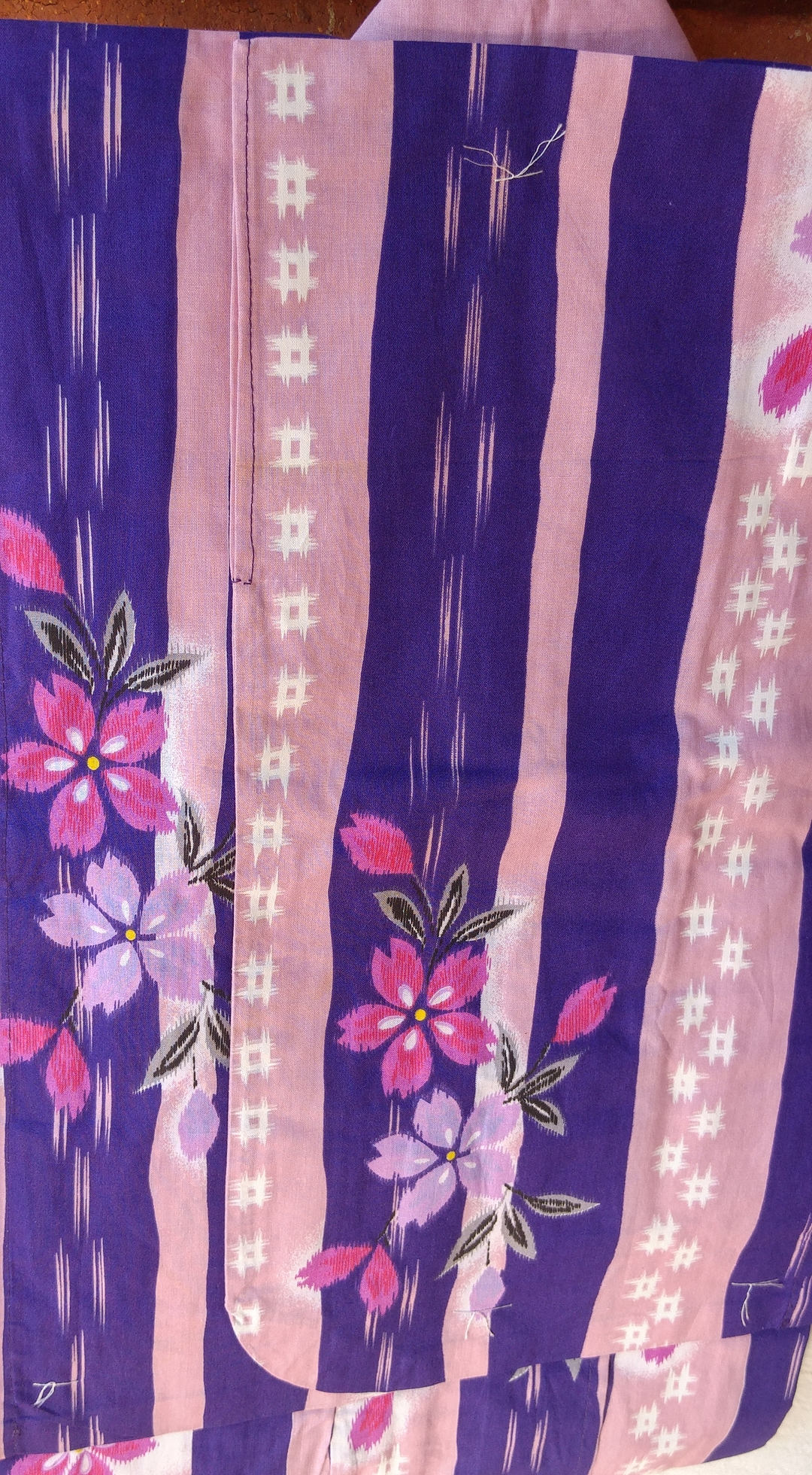 Japanese Cotton Yukata For Kids Young Girl With Flowers And Pink