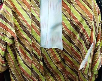 Vintage Japanese full shibori silk haori  kimono jacket in lemon/lime, ochre,  burnt orange and chestnut, hand stitched cream pink lining.