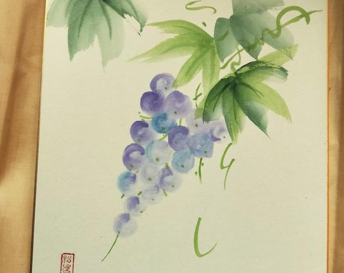 Vintage Hand painted Japanese shikishi  paintings Japanese on the vine,  signed