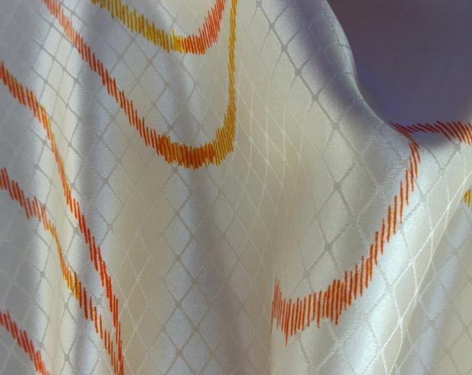 Vintage Japanese silk rinzu kimono fabric 92 cm x 36 cm grid with abstract lines