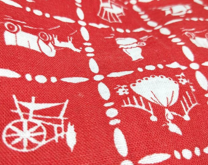 """Vintage American Feed sack fabric 1940's original not reproduction fat quarter 18"""" x 22' wagon, lamp, ship and spinning wheel red and white"""