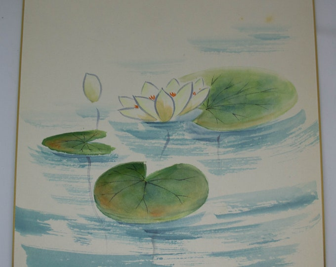 Vintage Hand painted Japanese shikishi paintings waterlilies signed. Not mint