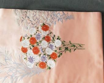 Beautiful vintage Japanese silk Nagoya obi, with bouquet of chrysanthemum flowers pattern pink ground.