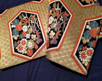 Vintage Japanese fukuro silk  woven geometric hexagon with flowers , black reverse, gold kikko tortoise shell pattern for longevity.