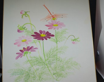 Vintage Hand painted Japanese shikishi paintings with cosmos and dragonfly. Delicate and subtle