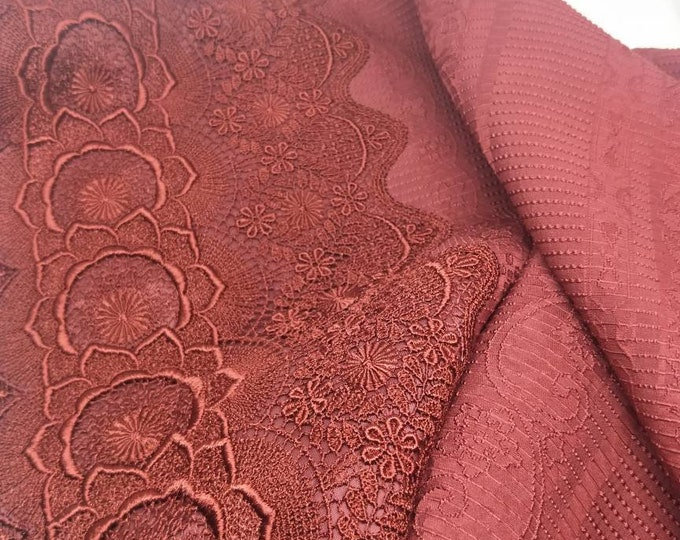Vintage Japanese shawl for kimono. Wine red fabric with textured weave and floral lace trim detail. Satin lining. Elegant and sophisticated