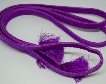 Vintage Japanese silk kumihimo obi-jime cord for obi purple, flat type. Handmade, wonderful.