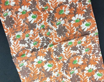 """Vintage American Feed sack fabric 1940's original not reproduction fat quarter 18"""" x 22"""" flower floral red brown , dark brown and green."""