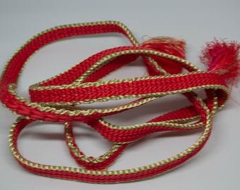 Vintage Japanese silk kumihimo obi-jime cord for obi orange, white and gold, flat type. Handmade, wonderful.