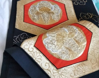 Vintage Japanese fukuro silk woven of flowers, black reverse, gold  metallic threads. Orange, silver and gold colours. Not Mint