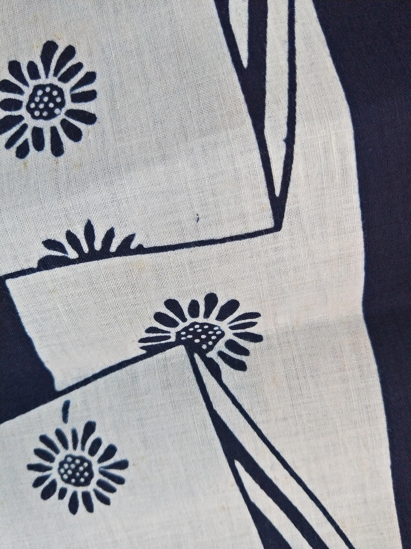 Indigo Mini Ichimatsu cotton yukata fabric Vintage Japanese Kimono Fabric