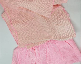 Vintage Japanese silk kimono obi-age baby pink silk with shibori 130 cm long.