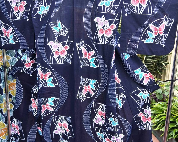 Vintage Japanese cotton yukata kimono indigo blue With pattern of fans and iris, hand stitched dyed  100% cotton. lovely