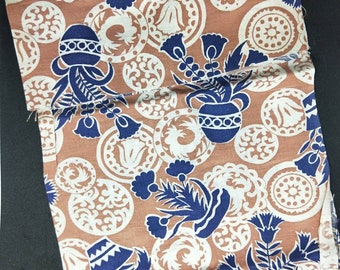 """Vintage American Feed sack fabric 1940's original not reproduction fat quarter 18"""" x 22' brown and indigo blue florals and geometrics"""