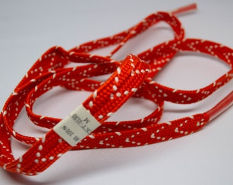 Vintage Japanese silk kumihimo obi-jime cord for obi orange and white, flat type. Handmade, wonderful.