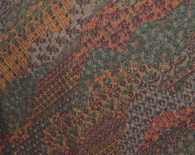 "Vintage Japanese silk wool blend kimono fabric brown sarassa pattern 36"" x 14"""