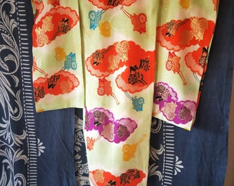 Vintage Japanese lime pale green kids kimono w/ colourful carriages and clouds. Not Mint