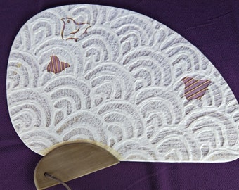 Japanese washi, bamboo and wood fan, Namichidori pattern plover and wave.  Symbol of connubial love.